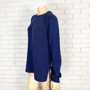 J. Crew Sweaters - J. Crew Women's Navy Side-Tie Crewneck Sweater